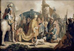 """Rembrandt """"David-kniet-mit-dem-Haupte-Goliaths-vor-Saul"""" 27.5 x 40 cm"""
