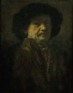 """Rembrandt """"Rembrand-Selbstbildnis-im-Pelz-mit-Kette-und-Ohrring"""" 66 x 53 cm"""