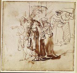 """Rembrandt """"Lot-und-seine-Familie-verlassen-Sodom"""" 22.1 x 23 cm"""