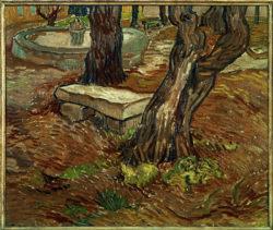 """Vincent van Gogh """"Steinbank im Garten des Hospitals Saint-Paul"""", 39 x 46 cm"""