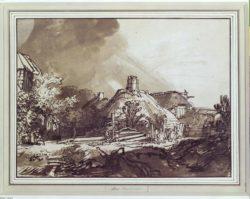 """Rembrandt """"Häuser-unter-gewittrigem-Himmel"""" 18.2 x 24.5 cm"""