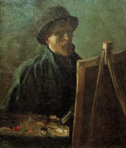 """Vincent van Gogh """"Selbstbildnis mit dunklem Fellhut vor der Staffelei"""" 46,5 x 38,5 cm"""