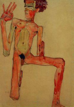 """Egon Schiele """"Kniender Selbstakt"""" 45 x 63 cm"""