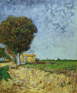 """Vincent van Gogh """"Allee bei Arles mit Haeusern"""" (Rand einer Landstraße), 61 x 50 cm"""