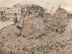 """Vincent van Gogh """"Die Strohhaufen"""", 24,1 x 31,8 cm"""