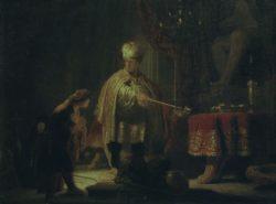"""Rembrandt """"Daniel-und-Cyrus-vor-dem-Götzenbild-des-Bel"""" 23.4 x 30.1 cm"""