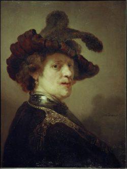 """Rembrandt """"Rembrand-Selbstbildnis-mit-Federhut"""" 62.5 x 47 cm"""