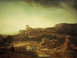 """Rembrandt """"Flußlandschaft-mit-Windmühle"""" 67 x 87.5 cm"""