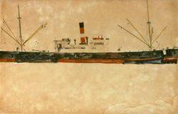 """Egon Schiele """"Schiffe im Hafen von Triest"""" 48 x 31 cm"""