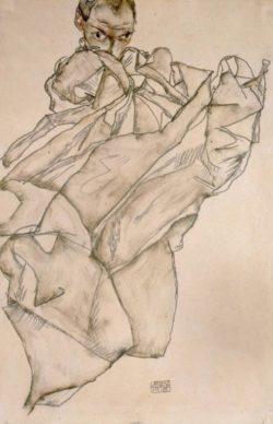 """Egon Schiele """"Selbstbildnis mit Decke"""" 33 x 50 cm"""