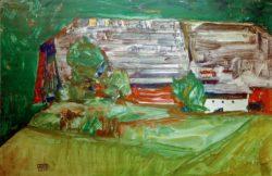 """Egon Schiele """"Bauernhaus in Landschaft"""" 46 x 30 cm"""