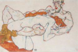 """Egon Schiele """"Umarmung"""" 48 x 32 cm"""