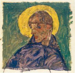 """Egon Schiele """"Kopf eines Heiligen"""" 24 x 23 cm"""