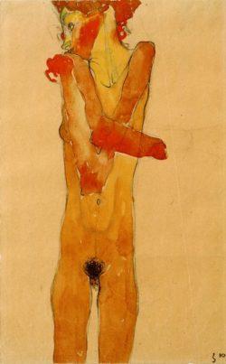 """Egon Schiele """"Mädchenakt mit vor der Brust verschränkten Armen"""" 28 x 45 cm"""