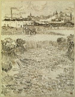 """Vincent van Gogh """"Der Schnitter"""" (Blick auf Kornfelder), 31,2 x 24,2 cm"""