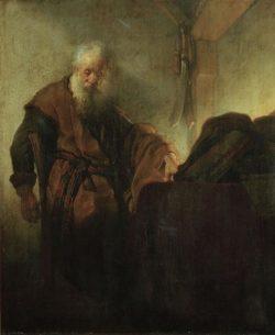 """Rembrandt """"Der-Apostel-Paulus-im-Nachdenken"""" 47.2 x 38.6 cm"""