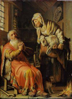 """Rembrandt """"Der-alte-Tobias-und-seine-Frau-Hanna-mit-den-Ziegenböckchen"""" 39.5 x 30 cm"""