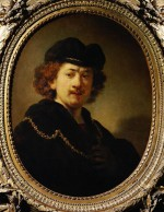 """Rembrandt """"Rembrand-Selbstbildnis-mit-Mütze-und-Goldkette"""" 70.5 x 53 cm"""