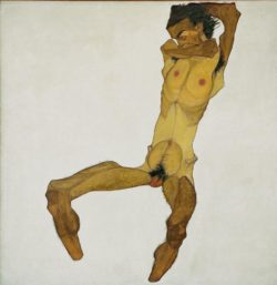 "Egon Schiele ""Sitzender Männerakt"" 150 x 152 cm"