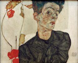 """Egon Schiele """"Selbstbildnis mit chinesischen Laternenfrüchten"""" 40 x 32 cm"""
