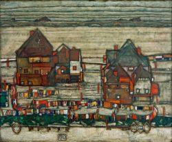 """Egon Schiele """"Häuser mit bunter Wäsche Vorstadt 2"""" 121 x 99 cm"""