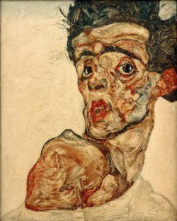 """Egon Schiele """"Selbstbildnis mit hochgezogener nackter Schulter"""" 34 x 42 cm"""