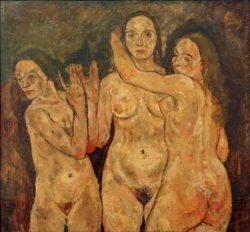 """Egon Schiele """"Drei stehende Frauen"""" 109 x 100 cm"""