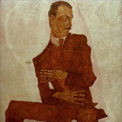 "Egon Schiele ""Bildnis Arthur Roessler"" 100 x 100 cm"