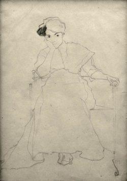 """Egon Schiele """"Sitzende"""" 31 x 45 cm"""
