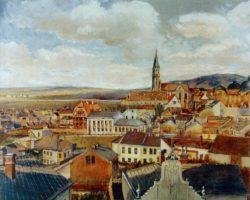 """Egon Schiele """"Blick vom Zeichensaal des Realgymnasiums auf Klosterneuburg"""" 46 x 37 cm"""