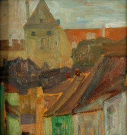 """Egon Schiele """"Häuserstudie Stiftskeller"""" 25 x 27 cm"""