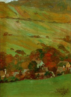 "Egon Schiele ""Häuser vor Bergabhang"" 18 x 26 cm"
