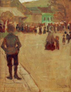"""Egon Schiele """"Vor dem Leopolditag in Klosterneuburg"""" 21 x 28 cm"""