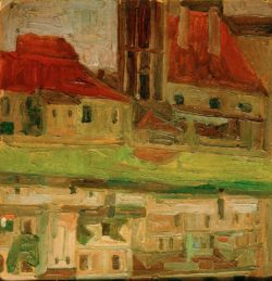 """Egon Schiele """"Jodokuskirche sich im Fluß spiegelnd in Krumau"""" 26 x 27 cm"""