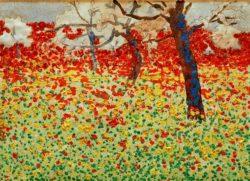 """Egon Schiele """"Blumenwiese mit Bäumen"""" 40 x 29 cm"""