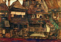 "Egon Schiele ""Häuser an der Moldau in Krumau"" 45 x 31 cm"