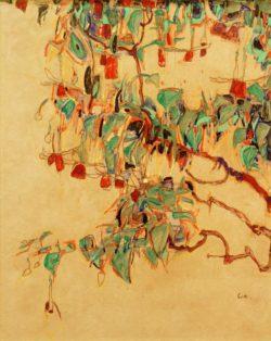 """Egon Schiele """"Fuchsienzweige Sonnenbaum"""" 31 x 40 cm"""