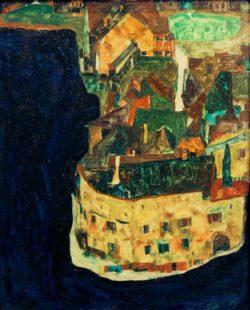 """Egon Schiele """"Stadt am Blauen Fluß 2"""" 30 x 37 cm"""
