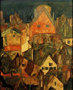 "Egon Schiele ""Krumau bei Nacht"" 29 x 37 cm"