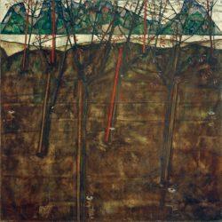 """Egon Schiele """"Vorfrühlingslandschaft"""" 90 x 90 cm"""
