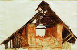 """Egon Schiele """"Alter Giebel"""" 49 x 32 cm"""