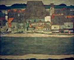 """Egon Schiele """"Häuser am Fluß 2"""" 121 x 100 cm"""