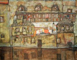 """Egon Schiele """"Hauswand am Fluß"""" 140 x 110 cm"""