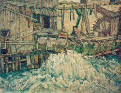 """Egon Schiele """"Zerfallende Mühle"""" 140 x 110 cm"""