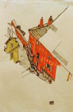 "Egon Schiele ""Motiv aus Krumau"" 30 x 46 cm"