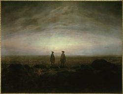 """Caspar David Friedrich """"Zwei Männer am Meer bei Mondaufgang""""  66 x 51 cm"""