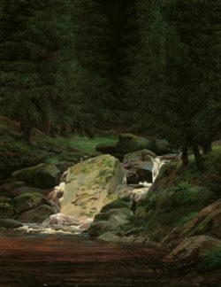 """Caspar David Friedrich """"Tannenwald mit Wasserfall""""  35 x 44 cm"""