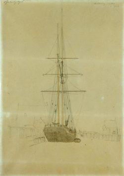 """Caspar David Friedrich """"Studie eines Zweimasters""""  246 x 350 cm"""