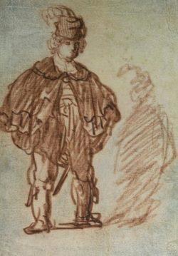 """Rembrandt """"Stehender-Schauspieler"""" 24.5 x 17.5 cm"""