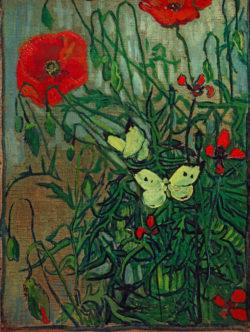 """Vincent van Gogh """"Schmetterlinge auf Mohnblueten"""" 33,5 x 24,5 cm"""